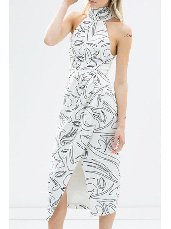 womens Printed Asymmetric Stand Collar Sleeveless Dress - WHITE L