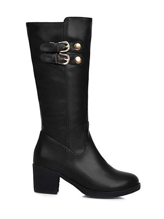 affordable Buckles Solid Color Chunky Heel Mid-Calf Boots - BLACK 34