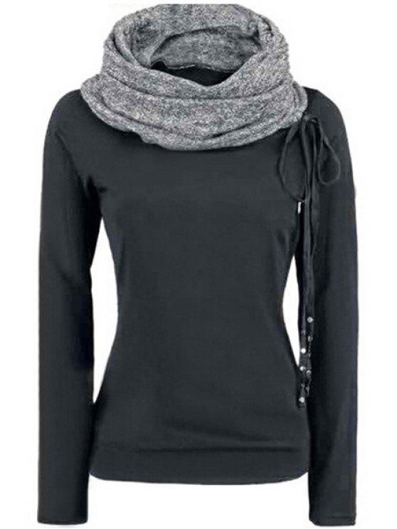 unique Heaps Collar Lace-Up Sweatshirt - BLACK S