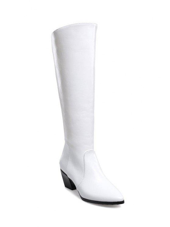 outfit Pointed Toe Solid Color Knee-High Boots - WHITE 34