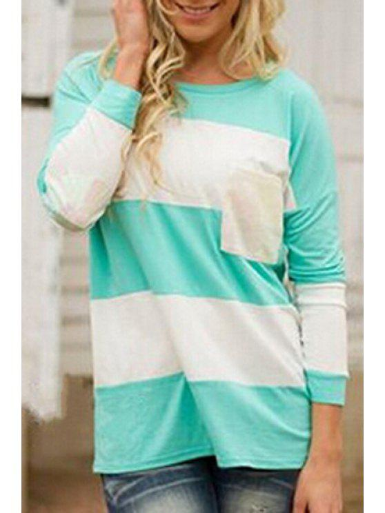 fancy Striped Patchwork Pocket T-Shirt - BLUE AND WHITE S