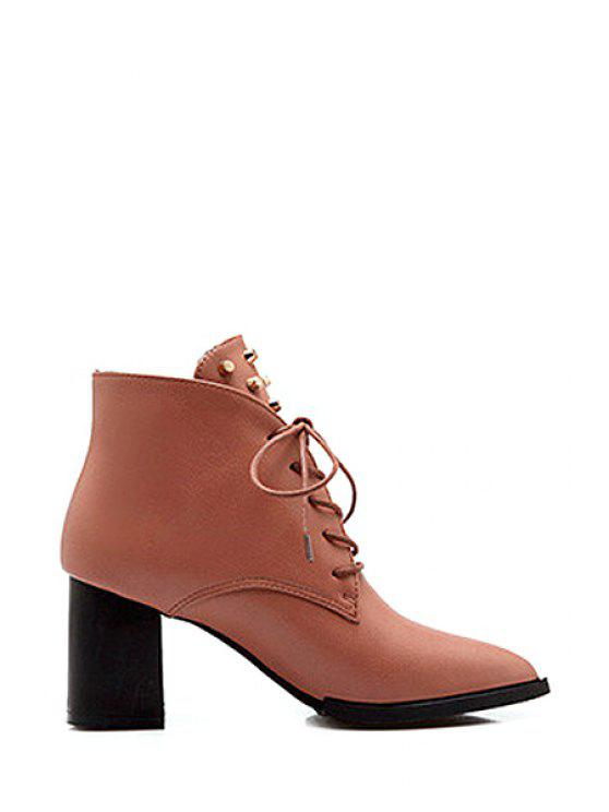 affordable Rivet Pointed Toe Chunky Heel Ankle Boots - BROWN 39