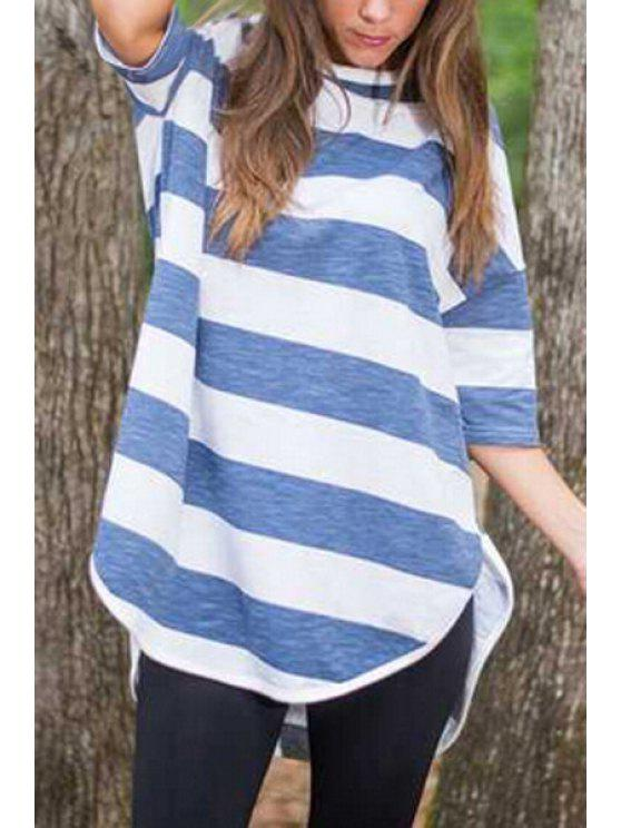 buy Half Sleeve Striped High Low T-Shirt - BLUE AND WHITE S