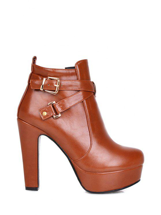 online Criss-Cross Buckle Chunky Heel Ankle Boots - BROWN 34