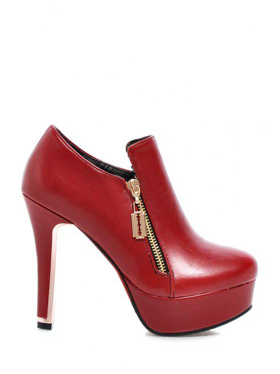 shop Zipper Platform Chunky Heel Ankle Boots - RED 38