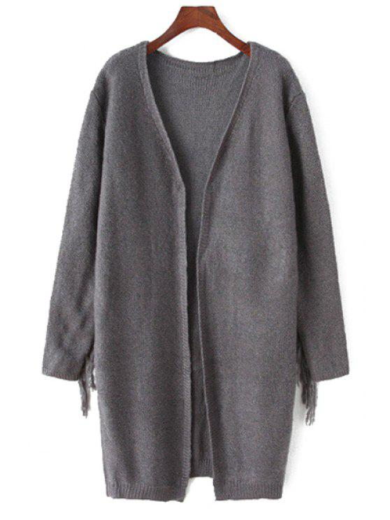 shops V-Neck Long Sleeve Fringed Cardigan - DEEP GRAY ONE SIZE(FIT SIZE XS TO M)