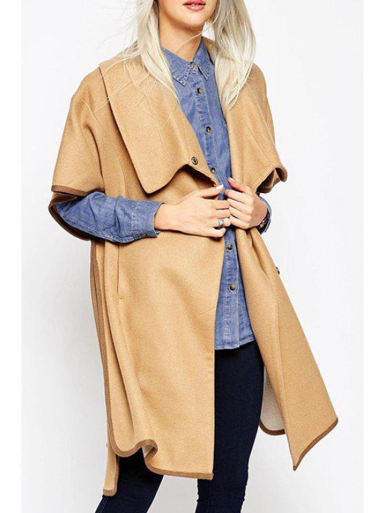 online Short Sleeve Side Slit Pocket Coat - KHAKI S