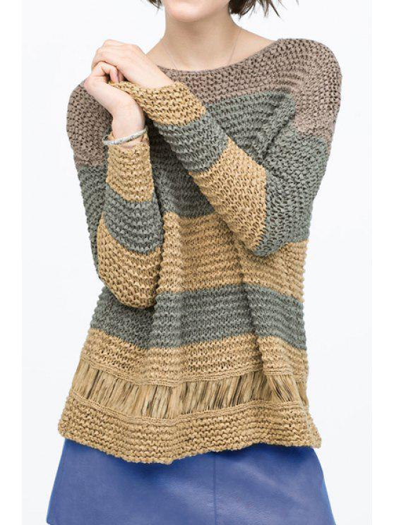 trendy Round Neck Striped Loose Sweater - KHAKI ONE SIZE(FIT SIZE XS TO M)