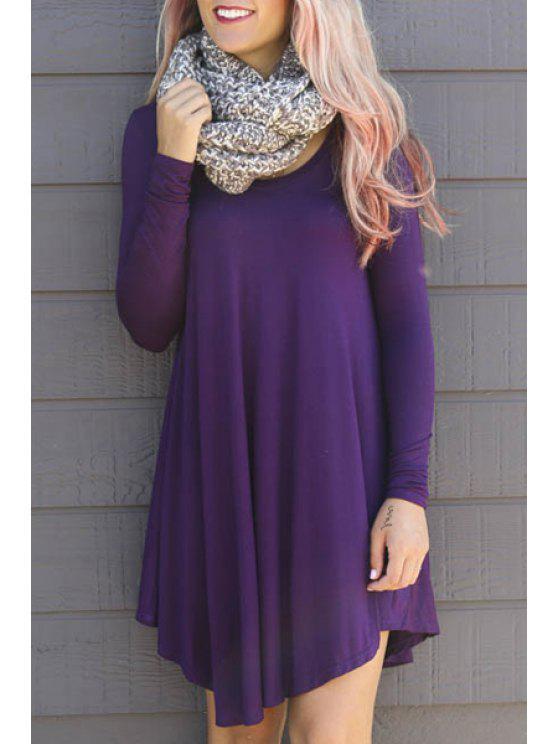 fancy Solid Color Asymmetric Long Sleeves Dress - PURPLE S