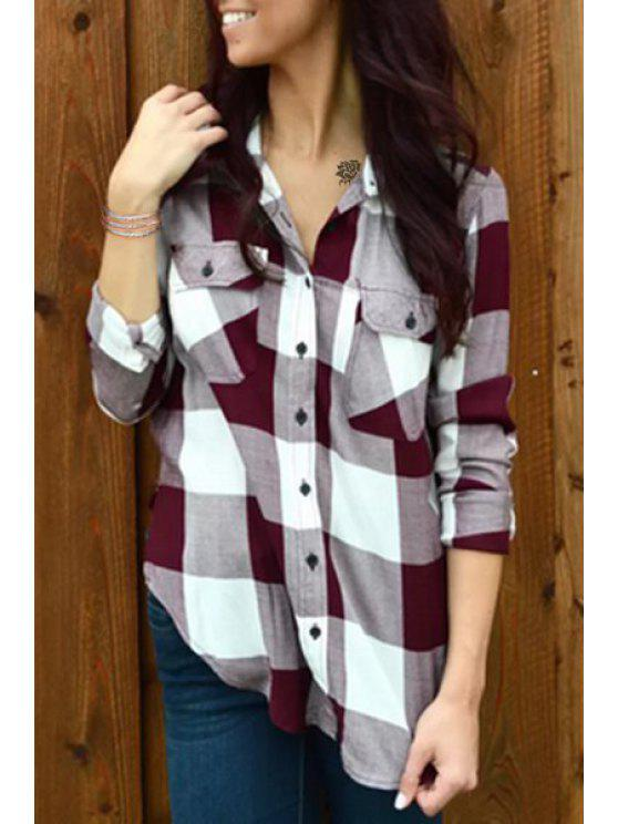 affordable Plaid Side Slit Flat Collar Long Sleeves Shirt - RED S