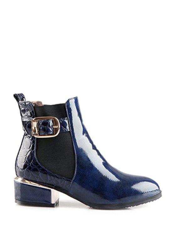 ladies Buckle Elastic Stone Pattern Short Boots - BLUE 34