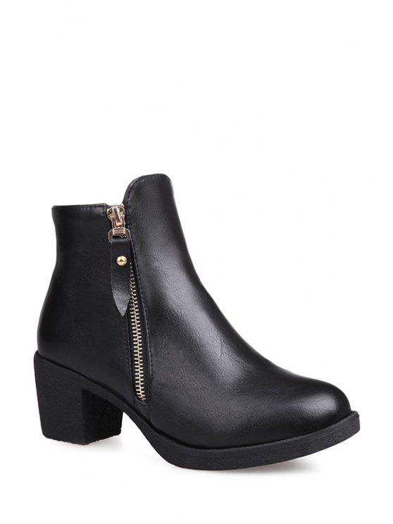 new Zipper Chunky Heel Pure Color Short Boots - BLACK 34