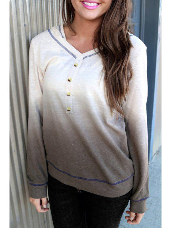 best Ombre Hooded Neck Long Sleeves Hoodie - GRAY S