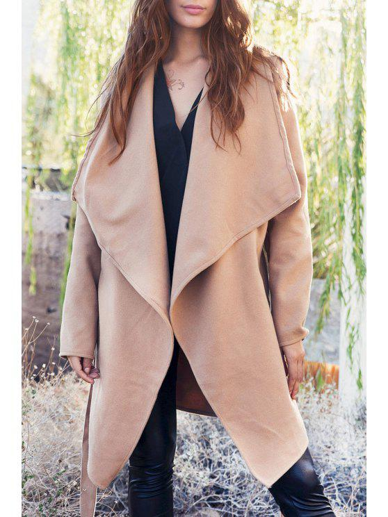 shop Large Lapel Pocket Coat With Belt - LIGHT APRICOT L