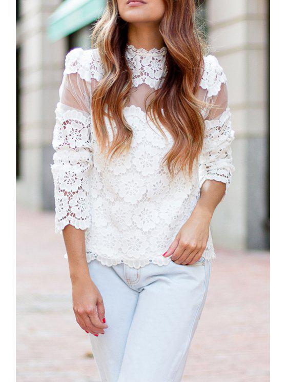 ladies Openwork Lace Hook White Blouse - WHITE S
