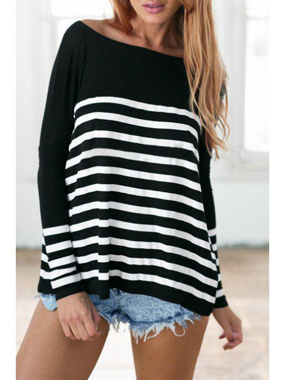 new Long Sleeve Striped Loose Fit T-Shirt - BLACK AND WHITE S