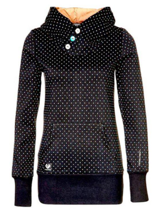 outfit Polka Dot Hooded Neck Long Sleeves Hoodie - BLACK S