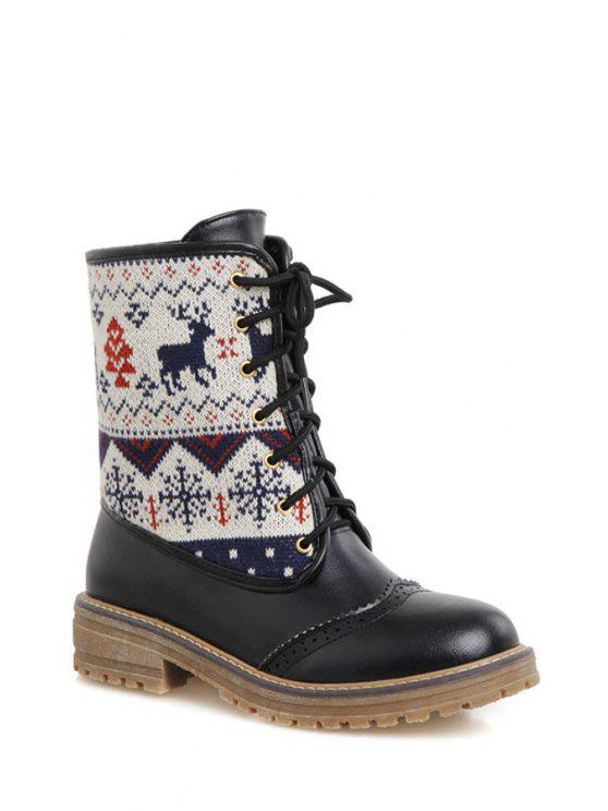 womens Engraving Knitting Lace-Up Short Boots - BLACK 34