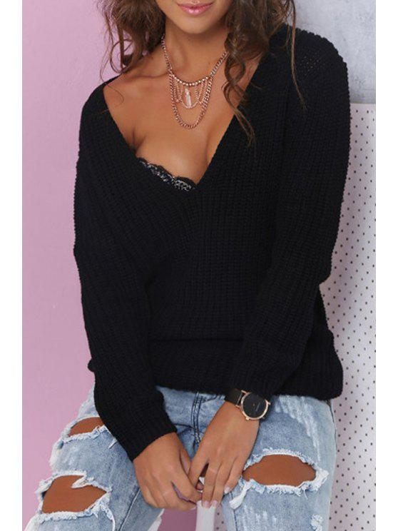 outfits Black Plunging Neck Long Sleeve Jumper - BLACK ONE SIZE(FIT SIZE XS TO M)