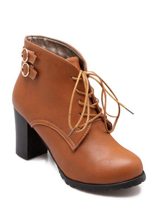 sale Lace-Up Buckles Chunky Heel Short Boots - BROWN 34