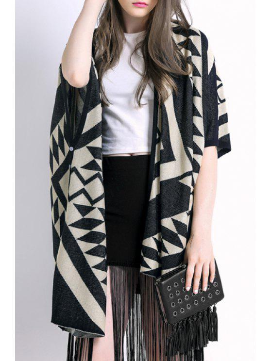 fashion Cape Geometric Print Irregular Hem Cardigan - BLACK ONE SIZE(FIT SIZE XS TO M)