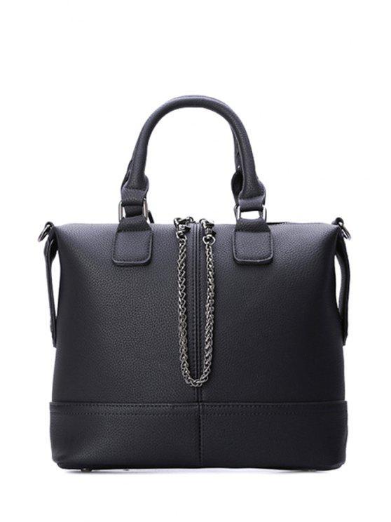 ladies Embossing Chains Black Design Women's Tote Bag - BLACK