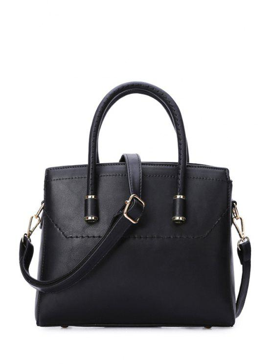 best Stitching Black PU Leather Tote Bag - BLACK