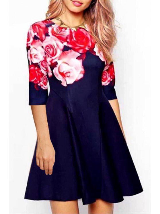 trendy Rose Print Half Sleeve Flare Dress - PURPLISH BLUE S