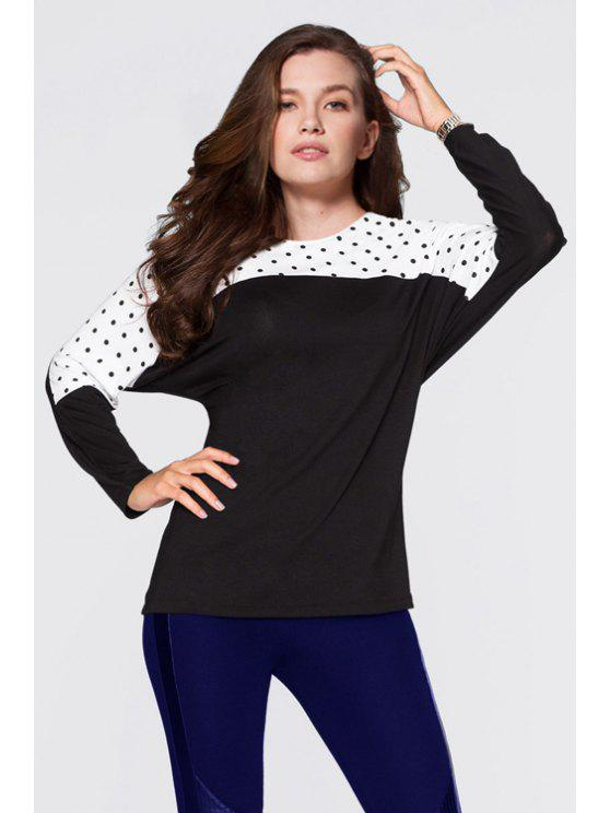 shops Polka Dot Spliced Long Sleeve T-Shirt - WHITE AND BLACK S