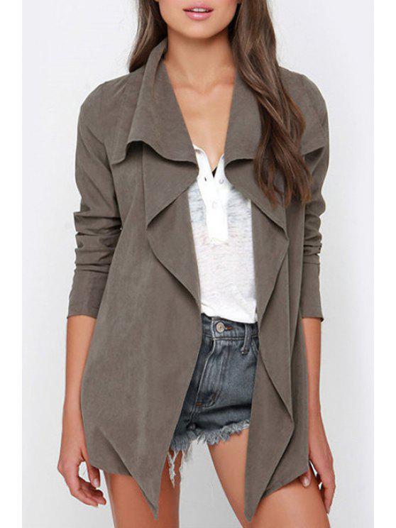 women Long Sleeve Irregular Hem Trench Coat - GRAY M