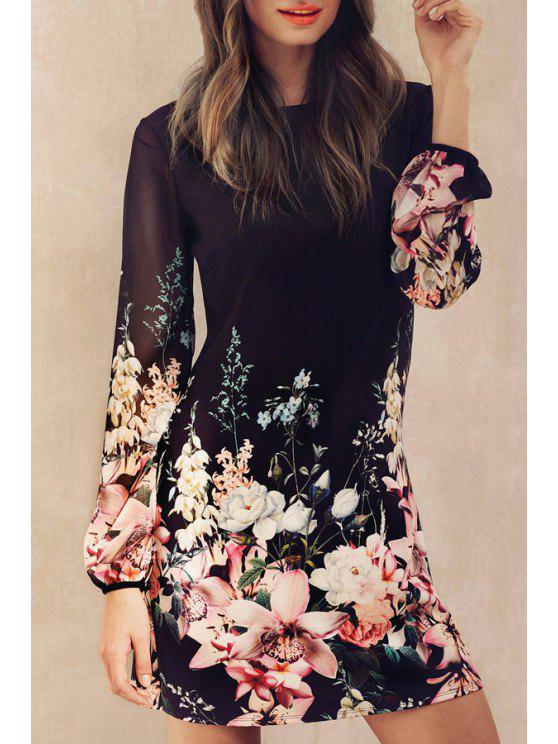 women's Round Neck Long Sleeve Floral Dress - BLACK S