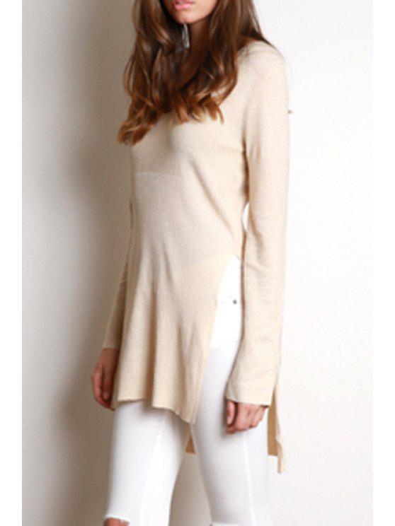 women's Side Slit Scoop Neck Long Sleeves Solid Color Sweater - KHAKI S