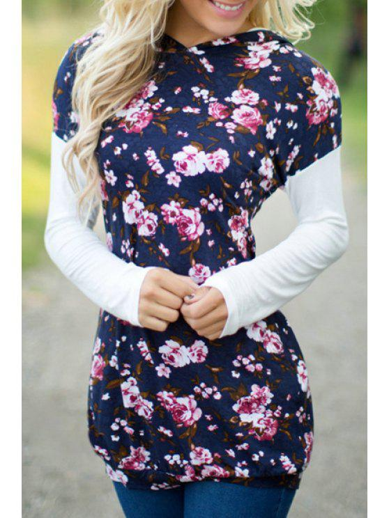 lady Floral Print Pullover Hoodie - BLUE XL