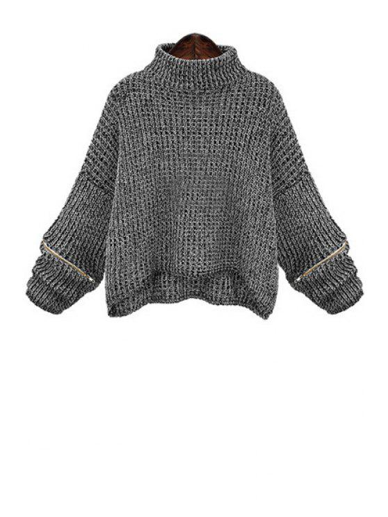 online Turtle Neck Zippered Oversized Sweater - DEEP GRAY 3XL