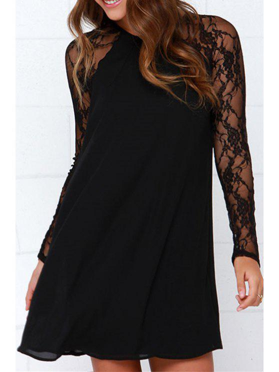 chic Long Sleeve Lace Patchwork Chiffon Dress - BLACK S