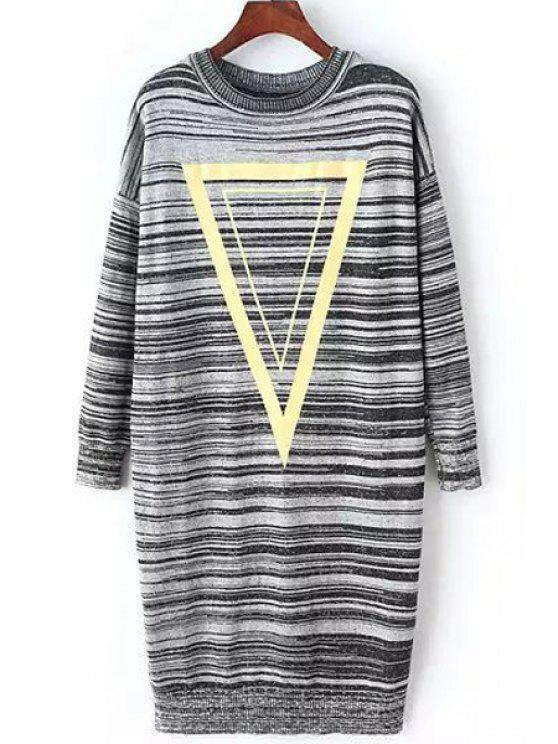 buy Triangle Print Long Sleeve Sweater Dress - GRAY ONE SIZE(FIT SIZE XS TO M)