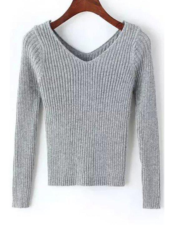 latest Pure Color Long Sleeve V Neck Jumper - GRAY ONE SIZE(FIT SIZE XS TO M)