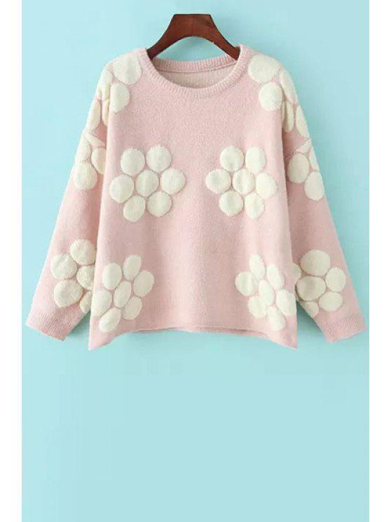 affordable Flower Pattern Long Sleeve Pullover Sweater - PINK ONE SIZE(FIT SIZE XS TO M)