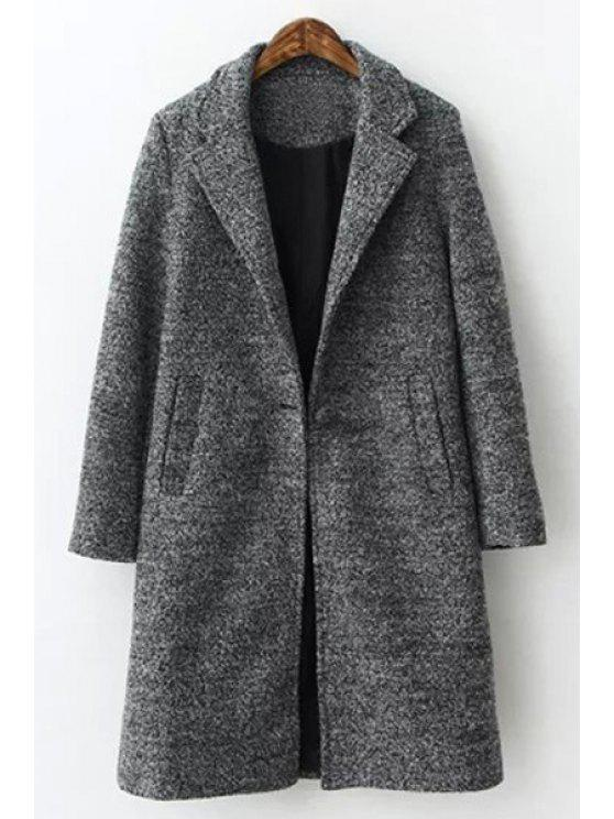 unique Solid Color Turn-Down Collar Long Sleeves Woolen Coat - GRAY S