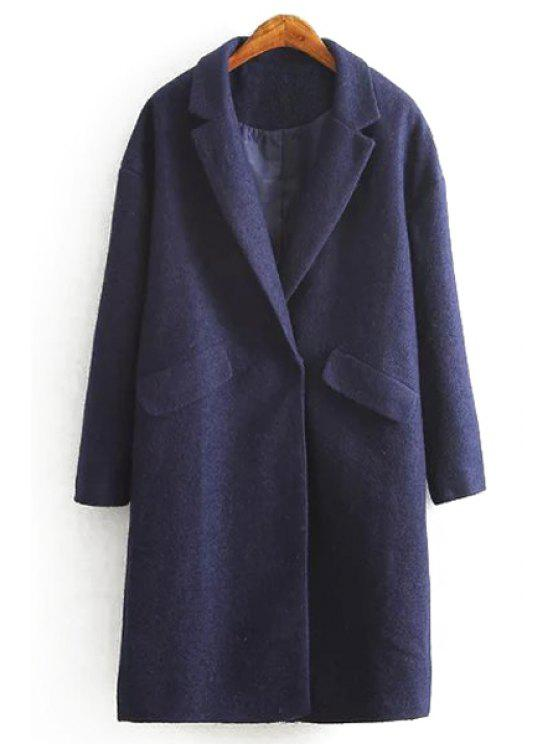 buy Woolen Solid Color Turn-Down Collar Long Sleeves Coat - CADETBLUE S