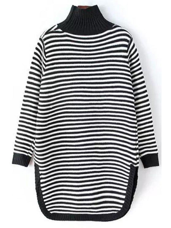 online Striped Turtle Neck Long Sleeve Sweater Dress - WHITE AND BLACK ONE SIZE(FIT SIZE XS TO M)