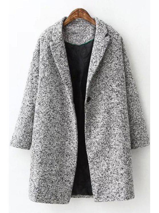 online Pure Color Woolen Turn-Down Collar Long Sleeves Coat - GRAY S