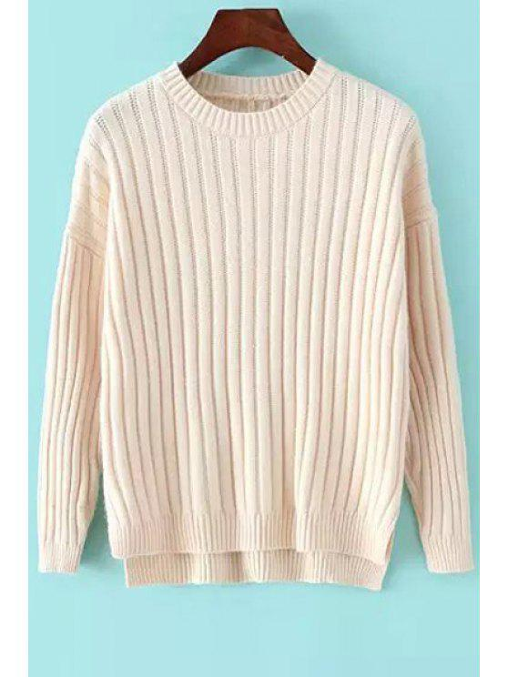 ladies High Low Round Neck Long Sleeves Jumper - WHITE ONE SIZE(FIT SIZE XS TO M)
