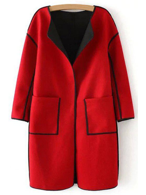 shops Serging Turn-Down Collar Long Sleeves Woolen Coat - RED S