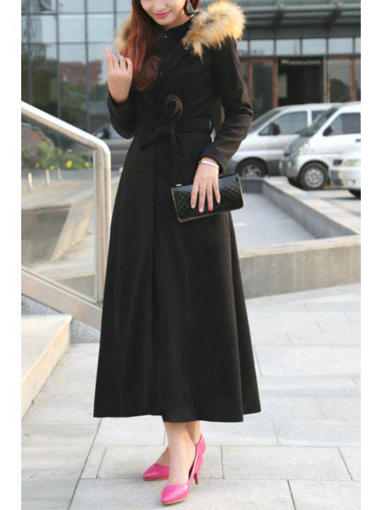 new Fur Collar Self-Tie Belt Maxi Coat - BLACK S