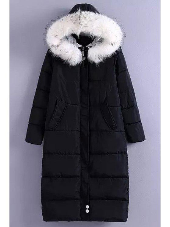 women's Solid Color Hooded Fur Collar Long Sleeves Down Coat - BLACK L