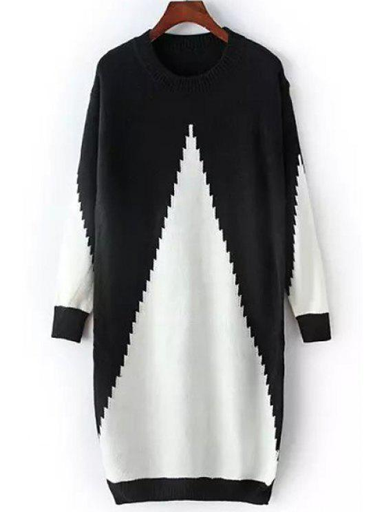 hot Black White Long Sleeve Sweater Dress - WHITE AND BLACK ONE SIZE(FIT SIZE XS TO M)