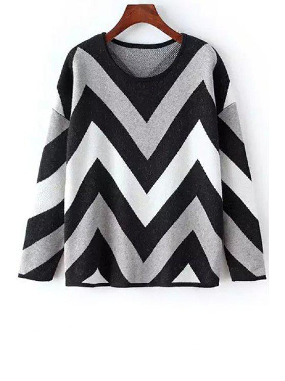 latest Long Sleeves Zig Zag Pattern Jumper - GRAY ONE SIZE(FIT SIZE XS TO M)