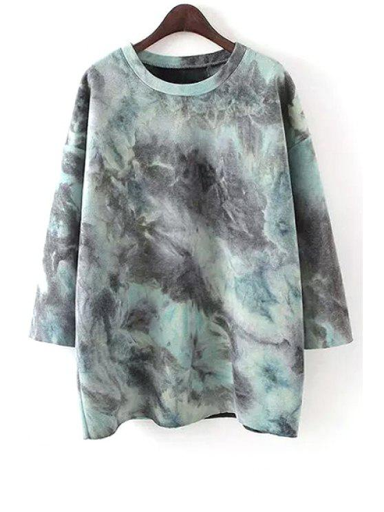 buy Tie Dye Round Collar Sky Ombre Pullover Sweatshirt - BLUE ONE SIZE(FIT SIZE XS TO M)