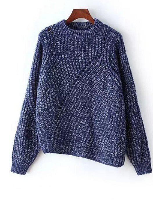 fashion Irregular Hem Round Neck Long Sleeve Jumper - BLUE ONE SIZE(FIT SIZE XS TO M)